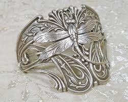 cuff bracelet jewelry images Art nouveau jewelry dragonfly half cuff bracelet statement jpg
