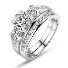 girls wedding rings images Bamoer set of 2 18k white gold plated ring princess jpg
