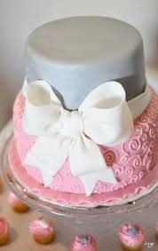 Silhouette Pink And Grey Baby Shower Cake Baby Shower Cakes
