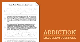 addiction discussion questions worksheet therapist aid