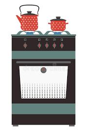 cuisiner avec une bouilloire le fourneau de cuisine avec la bouilloire et la casserole a isolé l