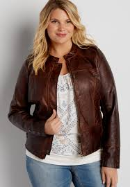 brown motorcycle jacket plus size faux leather scuba jacket with knit sides and quilted