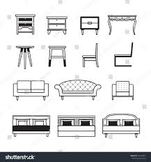 Armchair Sofa Beds Furniture Vectortablechairsofabed Set Stock Vector 272426801