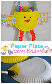 Paper Plate Monkey Craft - diy paper plate chicken easter basket craft for