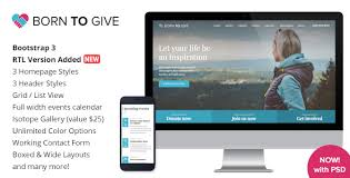 born to give charity crowdfunding responsive html5 template by