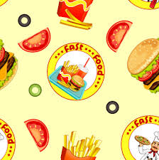 Fast Food Seamless Pattern Design Vector Vector Food Free Download Fast Food Ppt