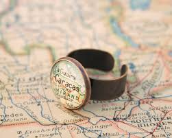 custom map ring copper anniversary gift for wife personalized ring