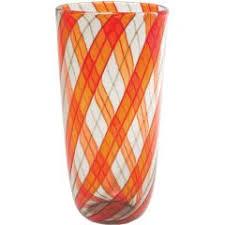 Striped Vase Radiant Murano Vase In Multi Colored Winding Striped Glass For