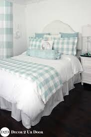 spa blue farmhouse gingham buffalo check custom designer bed