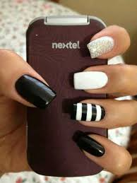 black and white nail art glitter nail nail art striped nails