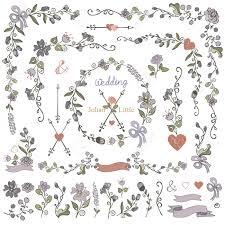 flowers doodles border frame wreath arrow ribbon floral decor