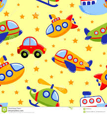 childish seamless pattern with transport kids toy car submarine