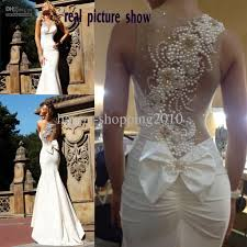 beaded wedding dresses peal bead wedding dress see through neckline with one shoulder