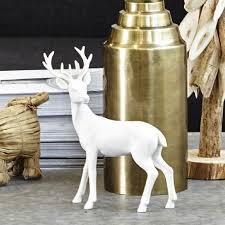 white deer ornament doe and stag pair