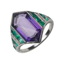 fd gallery an art deco amethyst and emerald ring by van cleef