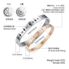 lettre en acier chiffres romains couple bracelet bracelet cristal bracelet avec