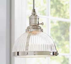 Glass Kitchen Pendant Lights Pb Classic Ribbed Glass Pendant Pottery Barn