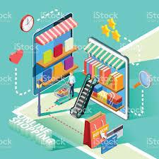 design poster buy ecommerce online shopping isometric design poster stock vector art