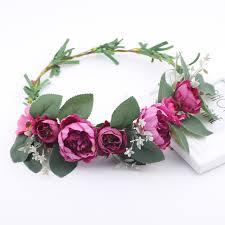 purple flower garlands for hair wreath flower crown