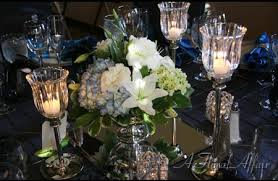 events low rf0421 low elegant blue and white centerpiece