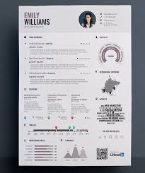 Graphical Resume Infographic Resume Template Grey Cv Template With Blue Details Cv