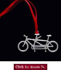 pewter tandem bicycle ornament flowerpedal