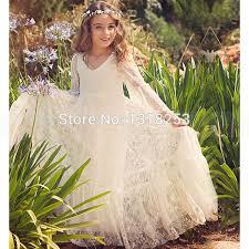lace long sleeve flower dresses white ivory communion dress