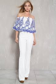 white formal jumpsuit white blue lace the shoulder flared dressy jumpsuit