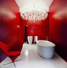 Red Floor Paint Impressive Red Color Paint Accent In Minimalist Bathroom With