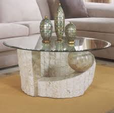 Pedestal Coffee Table Round Marble Base Glass Top Coffee Table 13256
