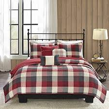 red grey plaid king cal king quilt set white checkered lodge cabin