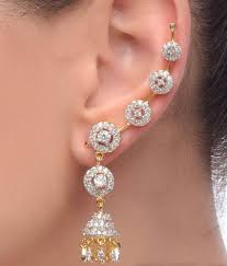 ear cuffs online jewels galaxy alloy gold plated american diamond studded jhumka