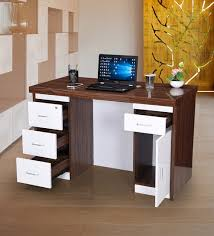 Buy Marvel Office Table in High gloss Walnut Finish With Drawers by