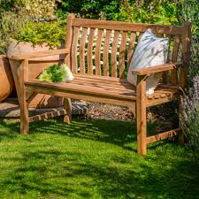 buy curved back teak bench u2013 two seater burford garden company
