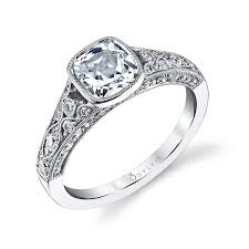 vintage halo engagement rings vintage halo cushion cut engagement ring