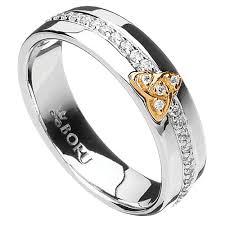 Irish Wedding Rings by Irish Ring 10k Trinity Knot Cz Wide Band Irish Wedding Ring At