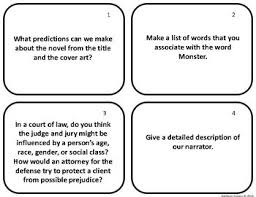 task cards for the novel by walter dean myers by juggling ela