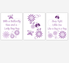 Purple Nursery Wall Decor Baby Nursery Wall Purple Lavender Ladybug Butterfly