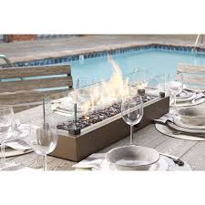 Redford 7 Piece Patio Dining Set - signature design by ashley hatchlands brown table top fire bowl by