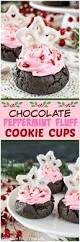chocolate peppermint fluff cookie cups swirls of creamy pink