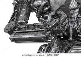 closeup war machine sculpture made scrap stock photo 322749587