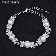bridal necklace sets silver images Mecresh simulated pearl bridal jewelry sets silver color wedding jpg