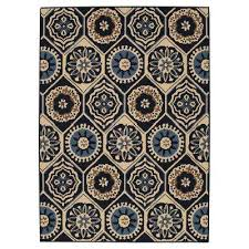 Navy Outdoor Rug Medallion Blue Outdoor Rugs Rugs The Home Depot