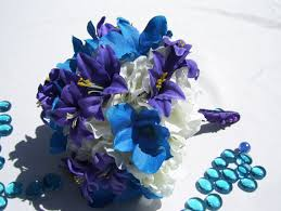 blue dendrobium orchids caitlin s silk bridesmaids bouquets with purple tiger lilies