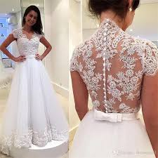designer wedding dresses online discount 2018 vintage cap sleeves a line bridal wedding dresses