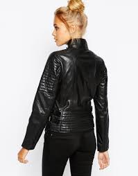 black leather biker jacket barneys originals leather biker jacket with quilting and buckle