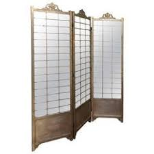 Mirror Room Divider by 1960s Three Panel Rattan And Mirror Floor Screen Room Divider For