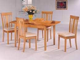 natural finish modern 5pc dining set w extension leaf table
