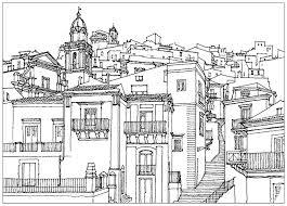 sicilia italia village architecture and living coloring pages