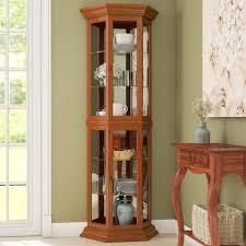 Curio Cabinets At Rooms To Go Three Posts Hollingdon Lighted Corner Curio Cabinet U0026 Reviews
